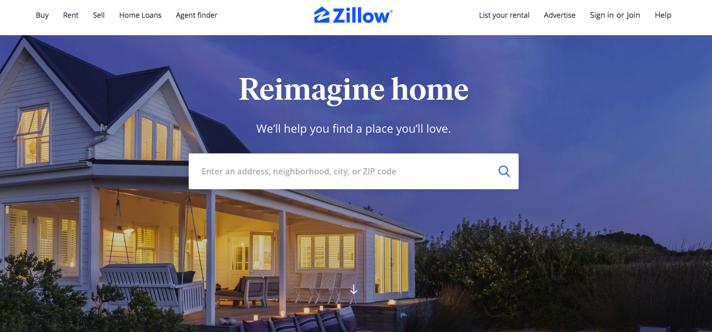 zillowのWEBサイト