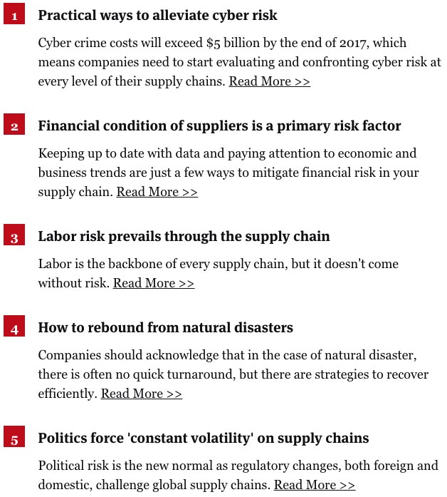 The 5 types of supply chain risk