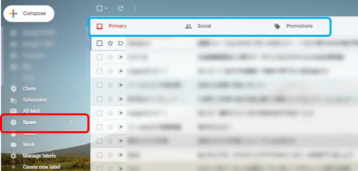 gmailのトップ画面